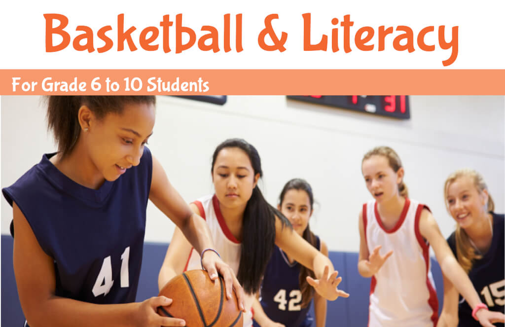 Young teen girls playing basketball - Basketball and Literacy summer program banner