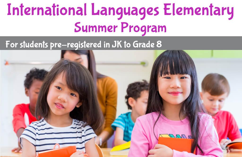 International Languages Elementary Summer Program Banner