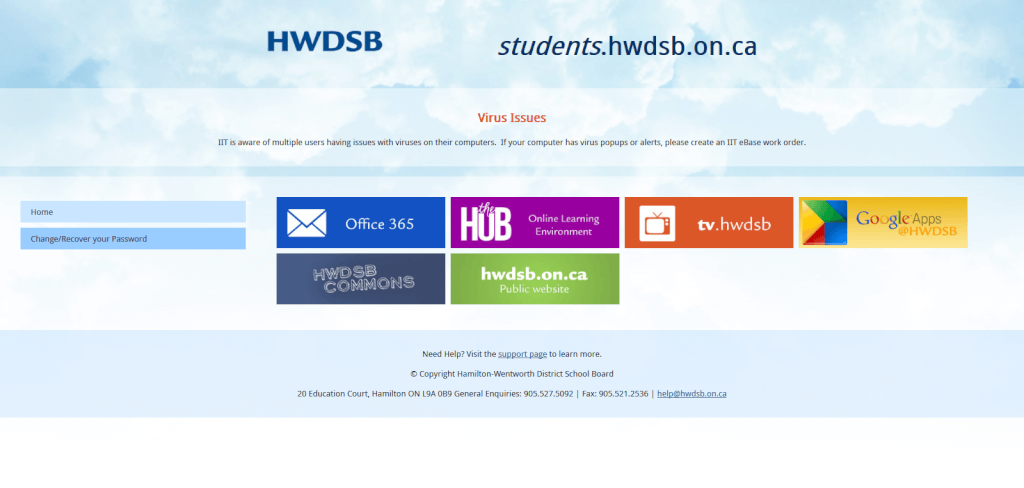 "Screenshot of the HWDSB Student Apps page - showing the ""Change/recover your password"" button."