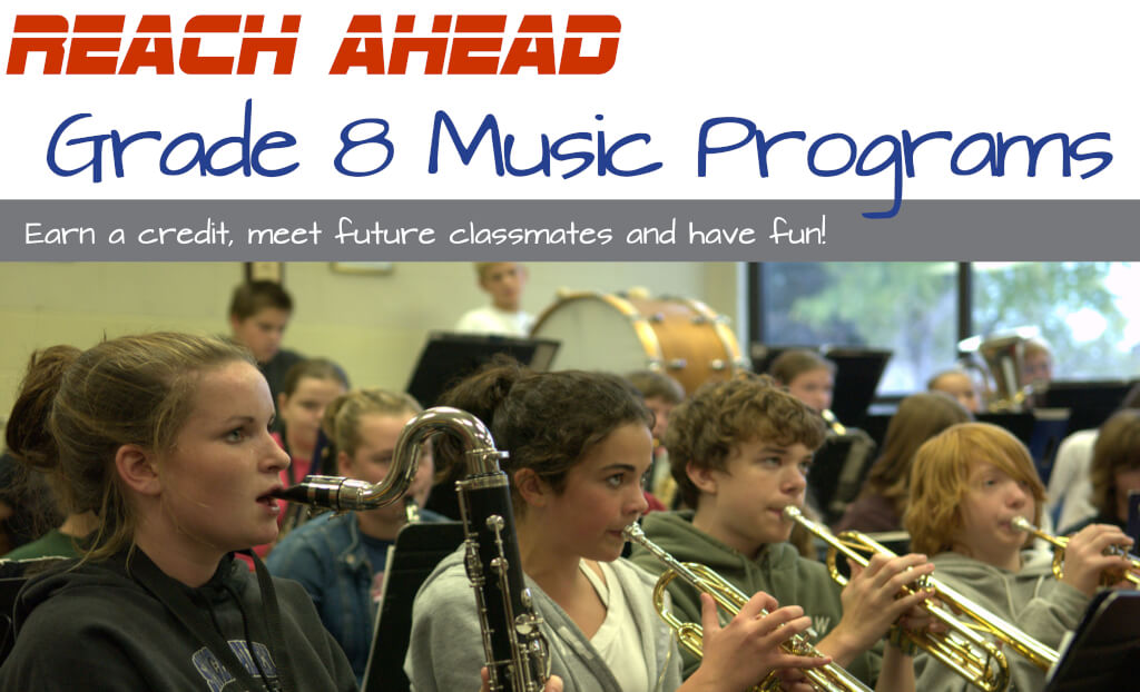 Reach Ahead banner with a photo of older elementary students in a music room playing as an orchestra