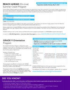 CE Summer Flyer 2021 p3 - Reach Ahead and Grade 9 Orientation