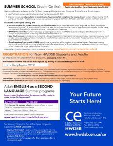 CE Summer Program Flyer 2021 p4 - Summer School, Adult ESL and Registration info