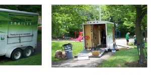 Community clean trailer parked in a park