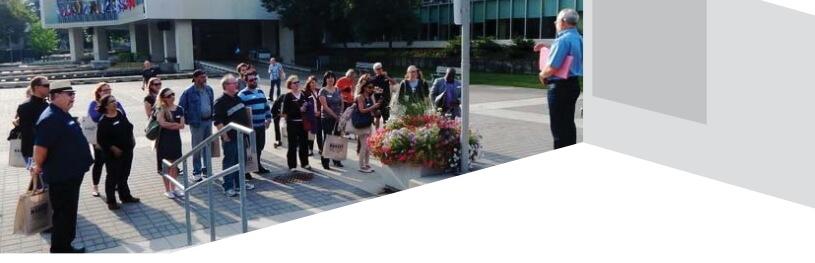 Presentation outside City Hall