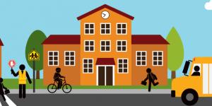 Illustratoin of children going to school