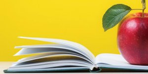 Apple on a book banner for Healthy Education