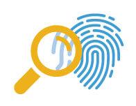magnifing glass looking at fingerprint illustration