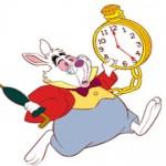 Rabbit running with clock