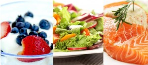 Healthy foods berries, salad and salmon