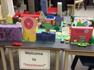 a small town built with craft paper called Hesstown