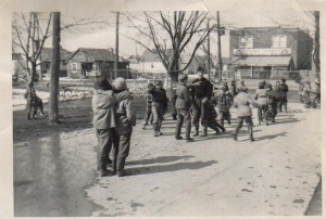 Students outside in the 1950s