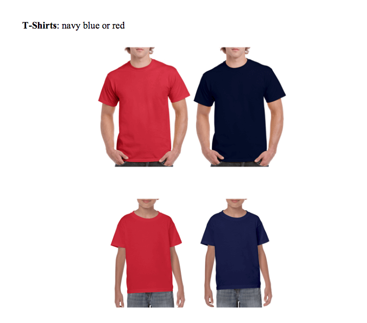 T-Shirts: navy blue or red