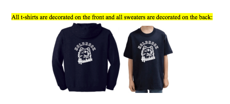 All t-shirts are decorated on front and sweaters decorated on back.