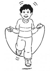 Cartoon of boy skipping