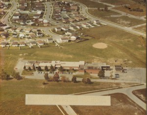 Aerial view of the school from front