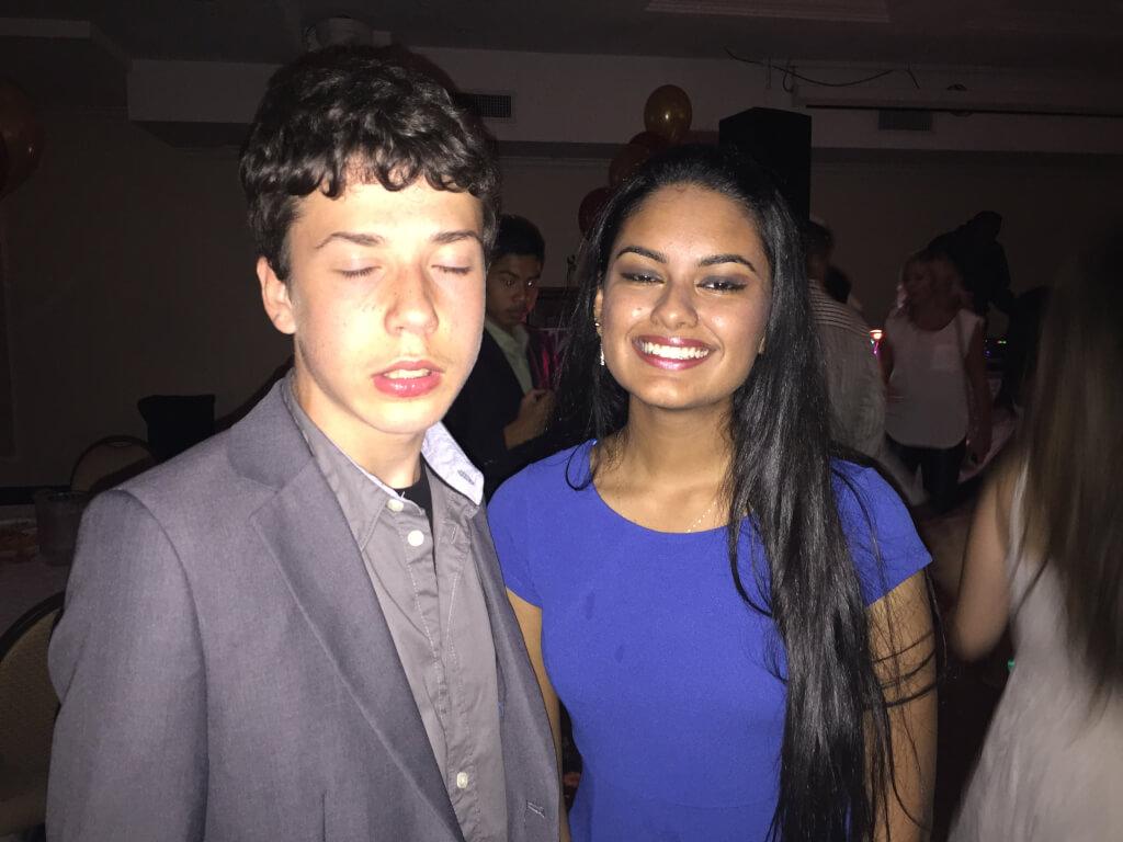 Girl and boy posing