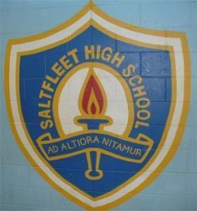Saltfleet High School Crest on a wall