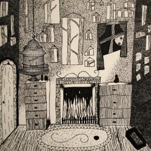 Emilea M. Gr. 9 Ink drawing