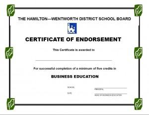 Certificate of Endorsement