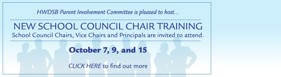 School Council Training Banner for October 7, 9, and 15. Learn more