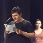 Students perform spoken word at Experiential Learning Day in the Arts.
