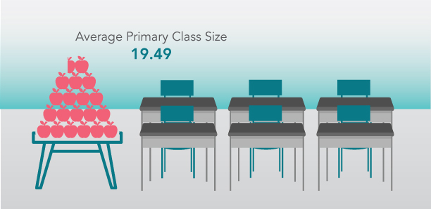 HWDSB's average primary class size is 19.49 students.