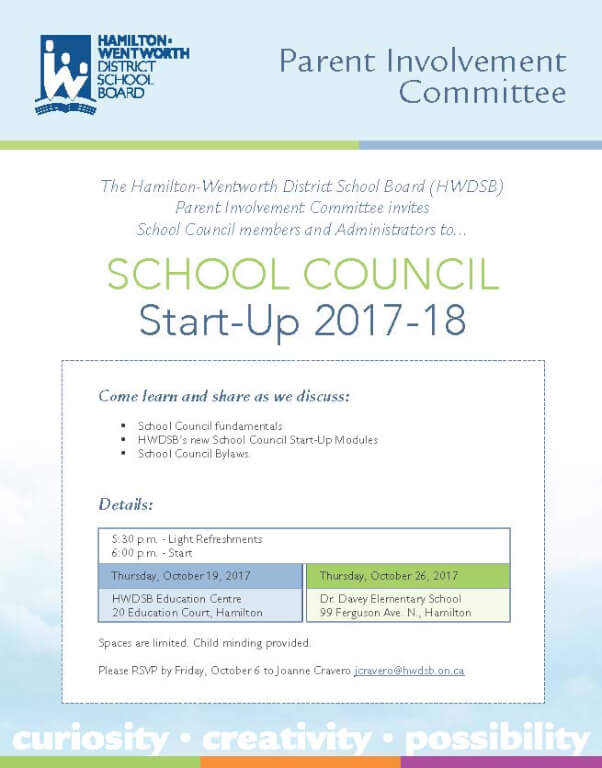 School Council Members invited to School Council Start-up 2017-18