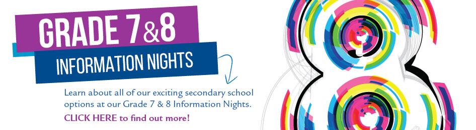 Grade 7 & 8 Information Nights banner
