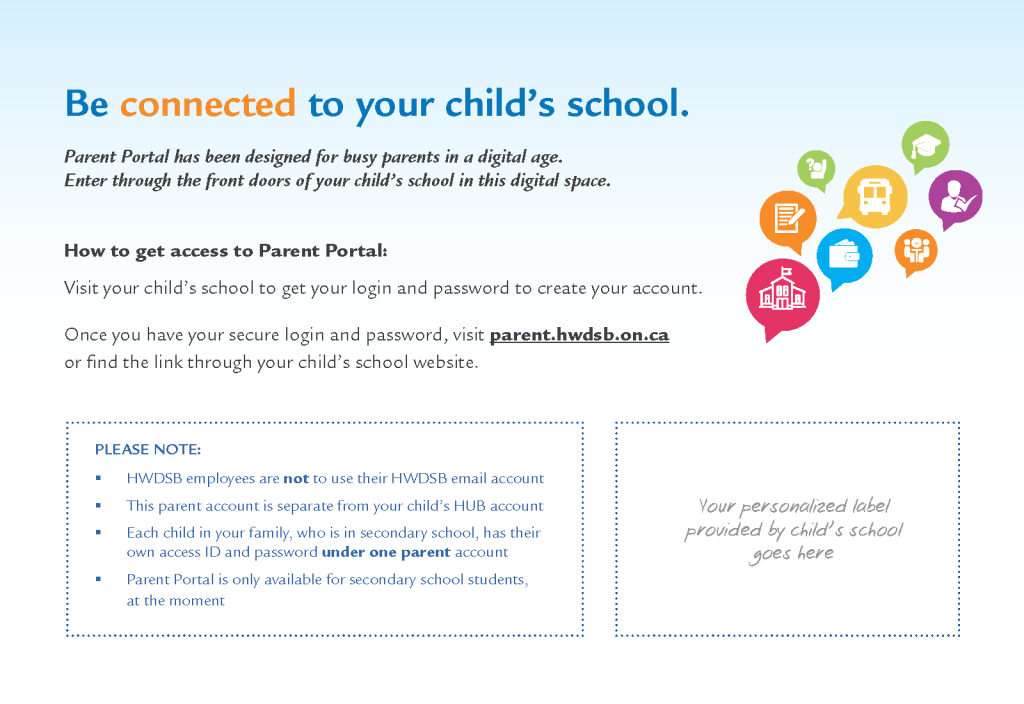 parent portal postcard