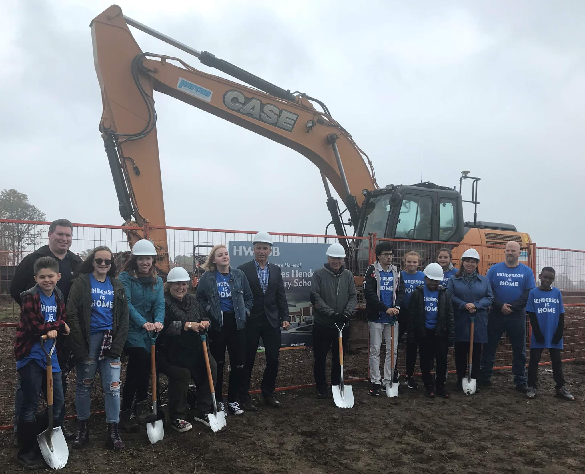 staff and students celebrate Henderson ground-breaking