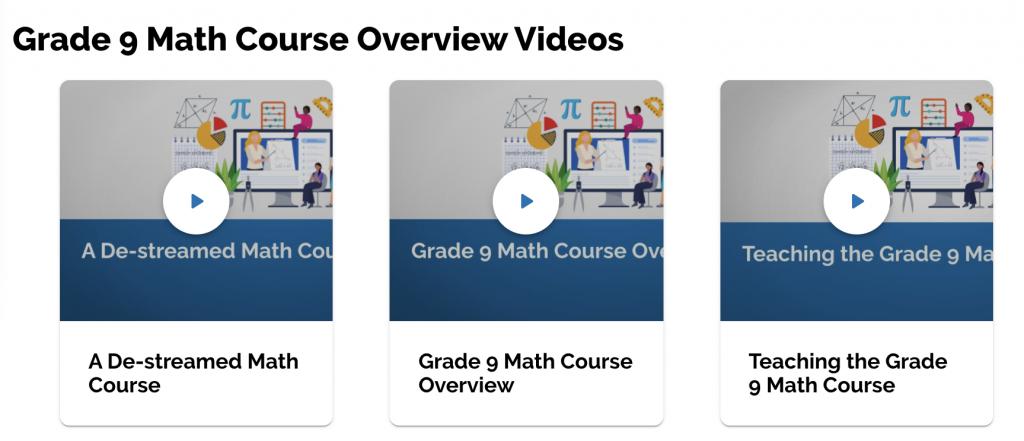 Screenshot of Grade 9 Math Course Overview Videos